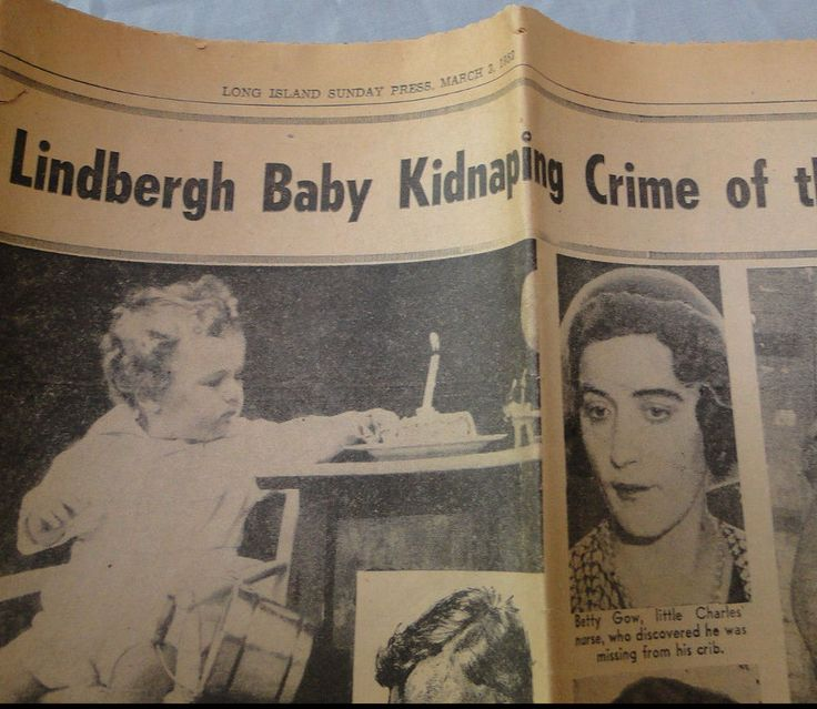 RARE Lindbergh baby Kidnapping  NY newspaper insert 1952 Charles Lindbergh
