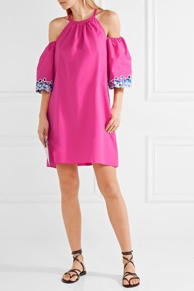 Peter Pilotto - Off-the-shoulder Embroidered Cotton-poplin Mini Dress - Pink - UK14