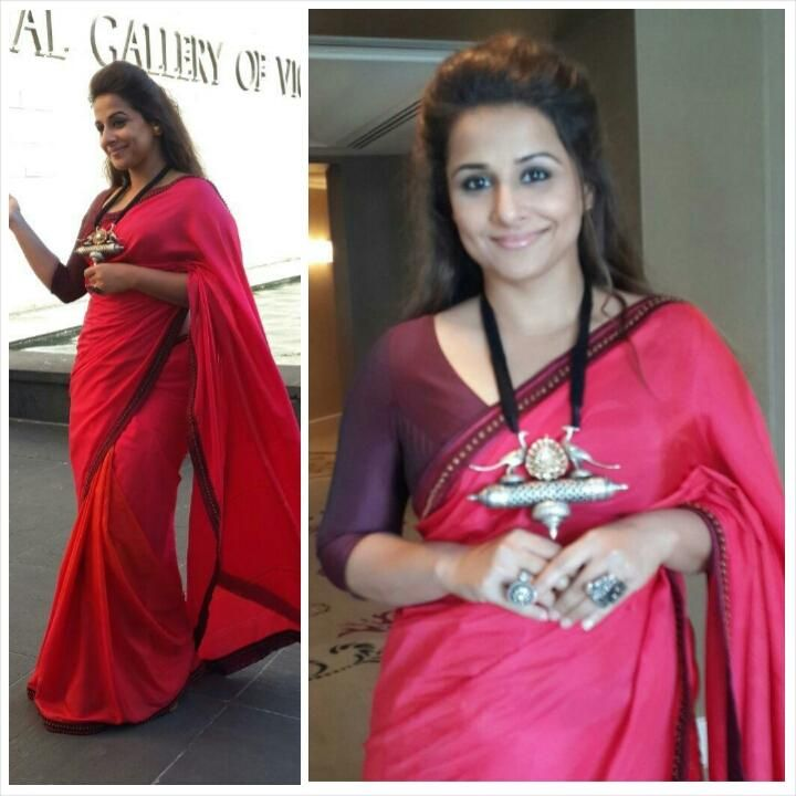 Vidya knows how to dress up her plain sarees. Silver statement pieces like this one will jazz up all your plain cotton or silk sarees.