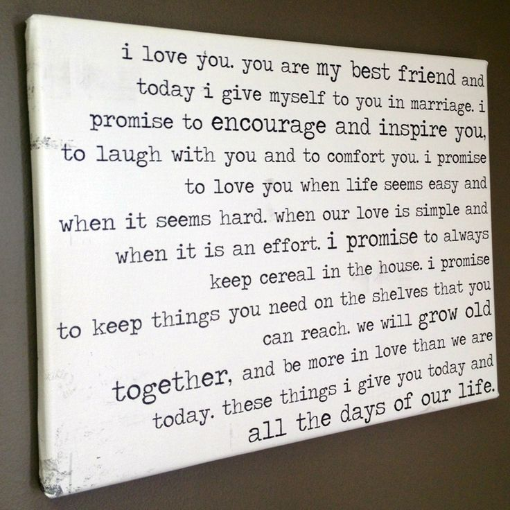 very cute vows   great gift idea! for spouse especially cool for 2nd wedding anniversary - cotton canvas