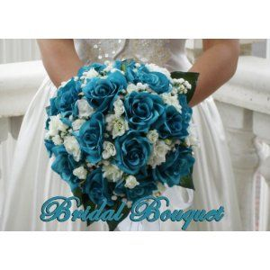 Dark Teal Wedding Flowers Pink White Oceana Blue Aqua