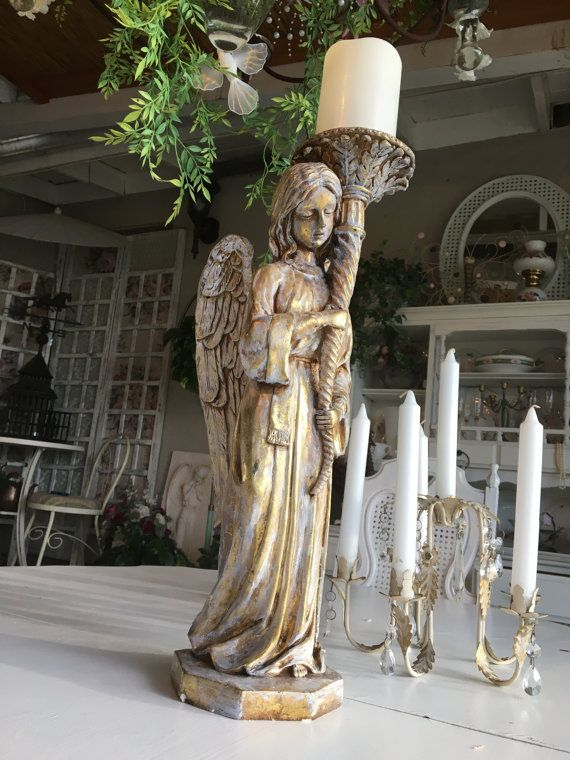 Gorgeous Angel Candle Holder Gold with Antiqued Whitewash Vintage Look Angelic Statue Garden