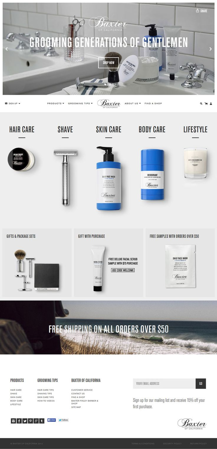 Baxter of California - Minimal Design Website