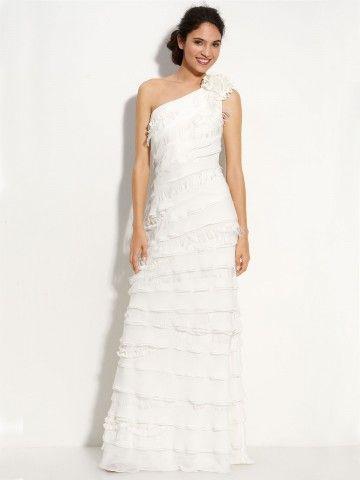 (NO.020385 )2012 Spring Style Sheath / Column One Shoulder Ruffles  Sleeveless Floor-length Chiffon White Bridesmaid Dress