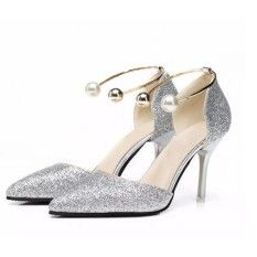 Ankle Strap 7cm 2017 Pearl Pointed Toe Women Pumps Beige High Heels  Shoes Casual Small Size Chunky Silver