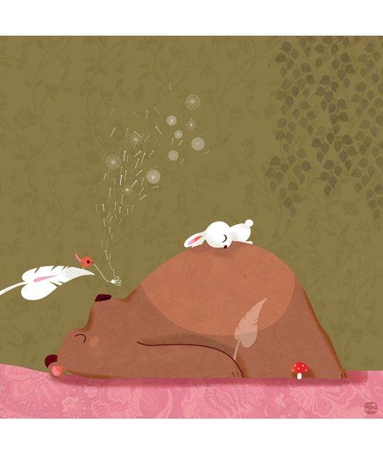 Tableaux chambre d'enfant et bébé : Les amis endormis