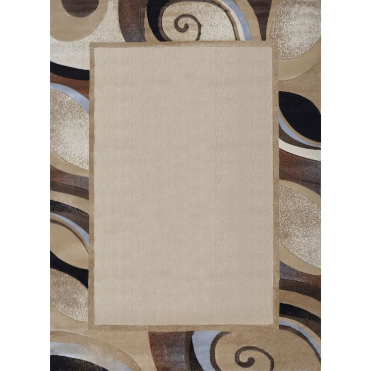 """(Ivory) Plush Area Rug with Spiral Border (7'10 x 10'2) (Contemporary 7'10"""" x 10'6"""" area rug)"""