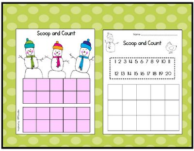 Scoop and Count - Each childtakes ascoop of marshmallowsand counts themby using the tens frames. Then, they record the amount on the recording sheet.