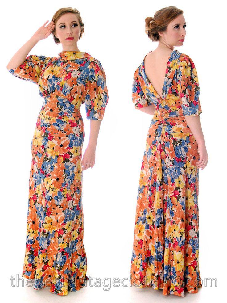 Vintage 1930s Bias Cut Floral Silk Gown Backless Maxi Dress 36-27-36
