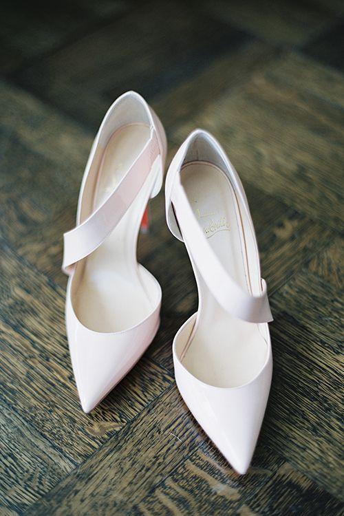 Blush Christian Louboutin bridal heels | @katbraman | Brides.com