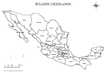 Mapa de México por estados para colorear mapa