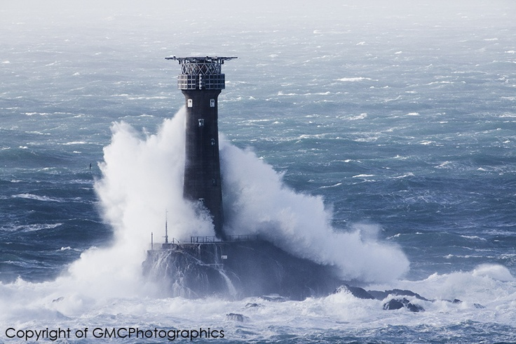 Longships Lighthouse, off the coast at Lands End, Cornwall, England    Tempest by Gareth Cooper