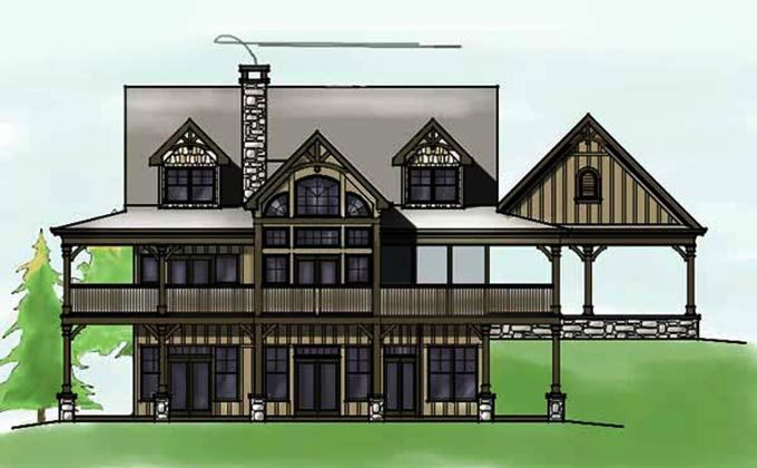 lakefront cottage plans with green grass   3 Bedroom Open Floor Plan with Wraparound Porch and ...