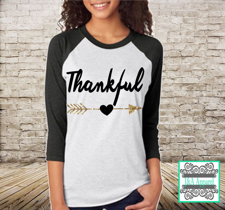 Thankful Shirt with Glitter Accent - Thanksgiving Shirt - Unisex Raglan - Thanksgiving top, Give thanks top, Gobble Gobble Top by JandAApparel on Etsy https://www.etsy.com/listing/254652813/thankful-shirt-with-glitter-accent