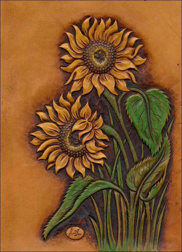 Sunflower Notebook Leather Ideas Leather Tooling