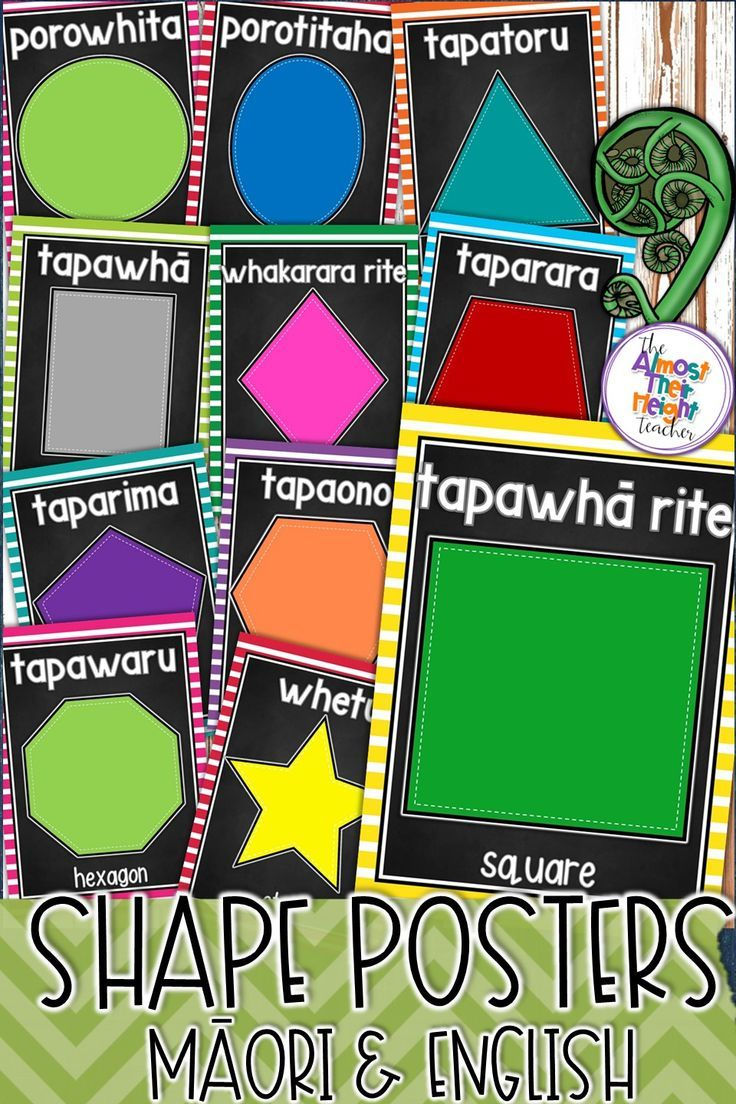 designed for the New Zealand classroom these bright and colourful shape posters come in Maori with English and in Maori.  Two styles of posters: with and without character faces. #maoriintheclassroom #maorilanguage #classroomdecor #shapes #shapeposters #newzealandclassroom #teacherspayteachers