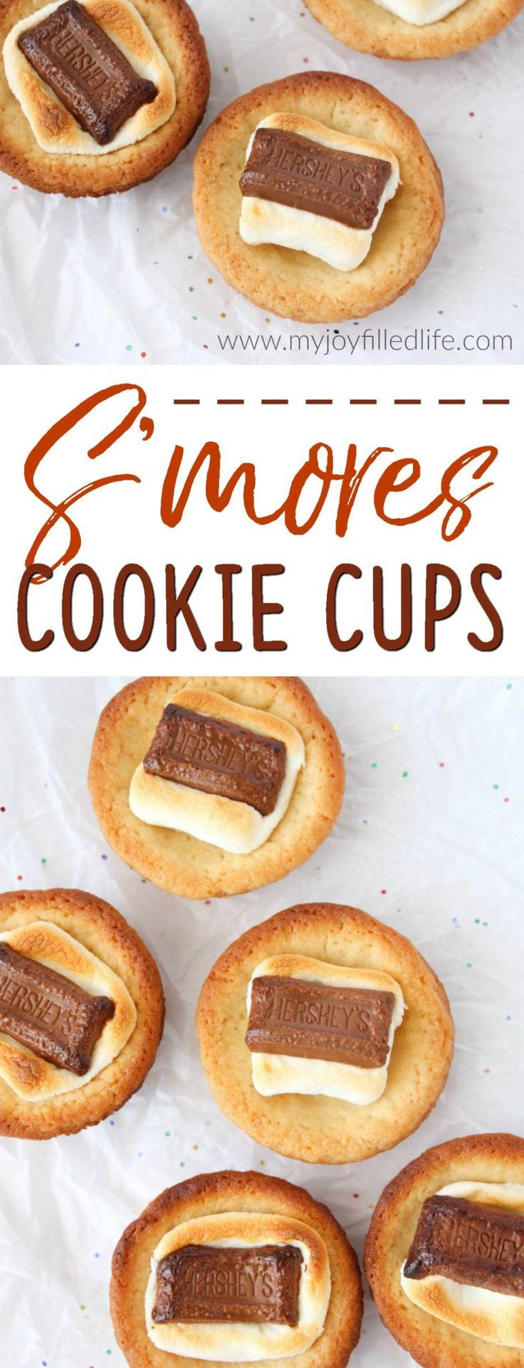 S'mores Cookie Cups are a great way to enjoy the taste of your favorite campfire treat, but without the campfire. #smores #sweettreats #cookies