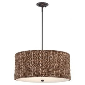 Invite the lush tropical style of Gauguins French Polynesia to your home with this beautiful design. Product: Pendant   Construction Material: Steel and rattan  Color: Mystic black and natural  Features: Bradbury collection  Accommodates:  (4) 100 Watt A19 medium base incandescent bulbs - not included  Dimensions: 50.5 H x 22 Diameter