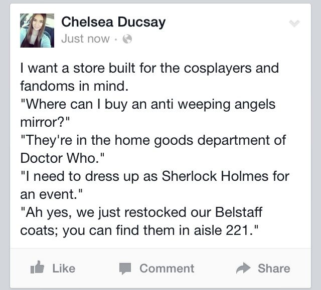 No lie I actually want to run a cosplay store when I'm older