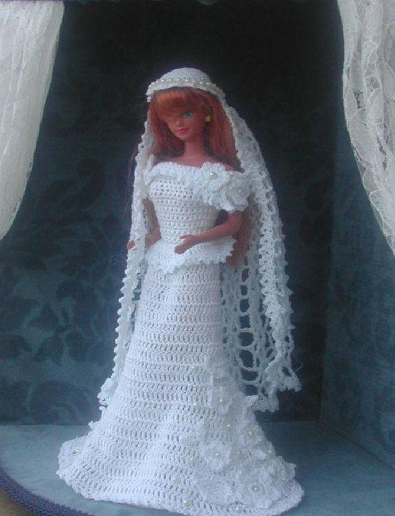 Crochet-vitrine mariée mode poupée Barbie Pattern - #10