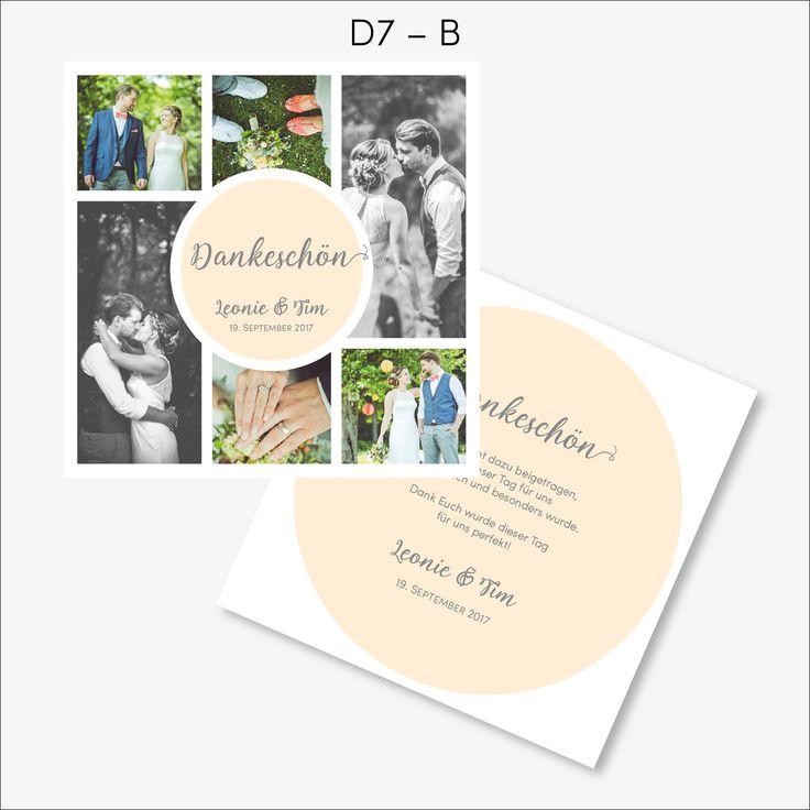 Dankeskarte Collage Kreis D7 Artikelnummer: D7 Sagt Danke zu Euren Liebsten mit einer Erinnerung an die schönsten Momente Eurer Traumhochzeit. Diese moderne Dankeskarte mit Euren persönlichen Hochzeitsbildern ist perfekt dafür! Weitere Informationen zu dieser Karte findet Ihr in der Produktbeschreibung.
