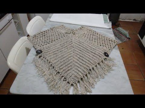 |PARTE 1/2| Poncho Estilo Boho Chic de #crochê - Artes da Desi - YouTube