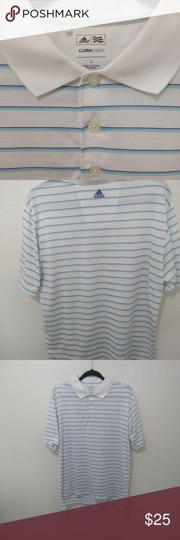 Addidas Climacool Golf Polo Shirt Addidas Climacool Stripped Athletic White,Blue Golf Polo Short Sleeve Shirt. Addidas Shirts Polos