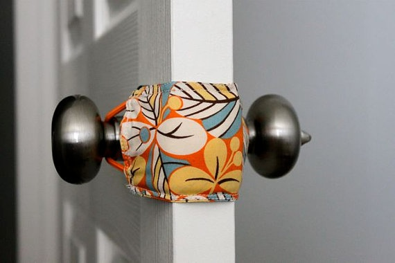 "These things are awesome! ""Latchy Catchys"" for keeping the door quiet in your kids rooms. This shop has such cute fabrics and they're super affordable!"