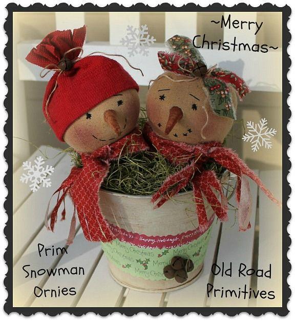 #ORPC306 Merry Christmas Prim Snowman Ornies Pattern