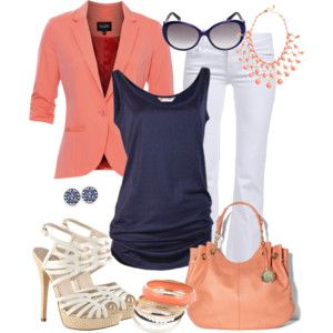 Coral and Navy Career Casual