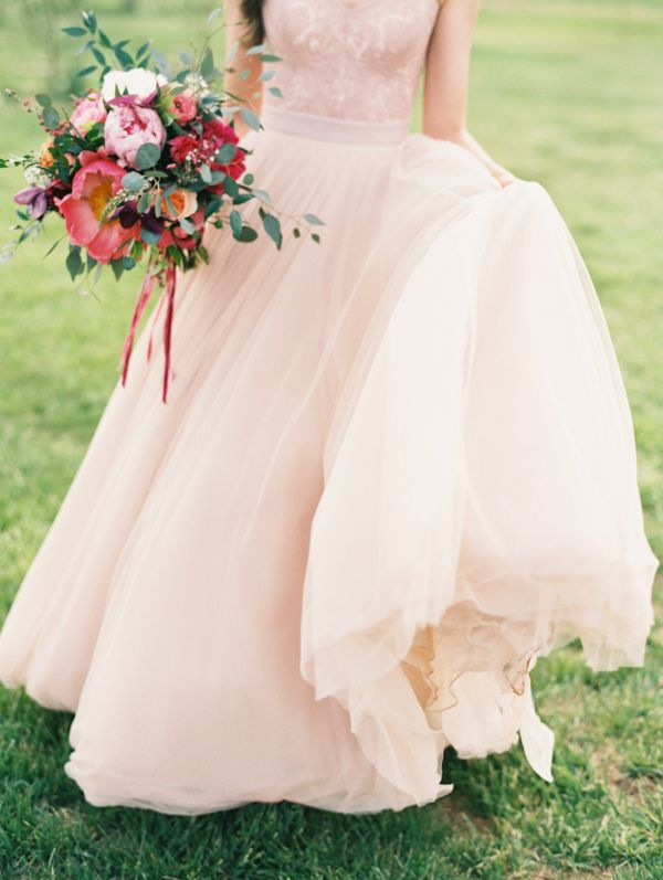 Blush Wedding Gown - Watters corset and Augusta Jones skirt from Anna Be. Gorgeous bouquet, too!