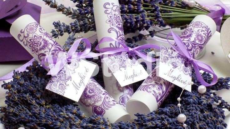 Lila tekercses esküvői meghívó! Violet Wedding invitation card ( Spool )