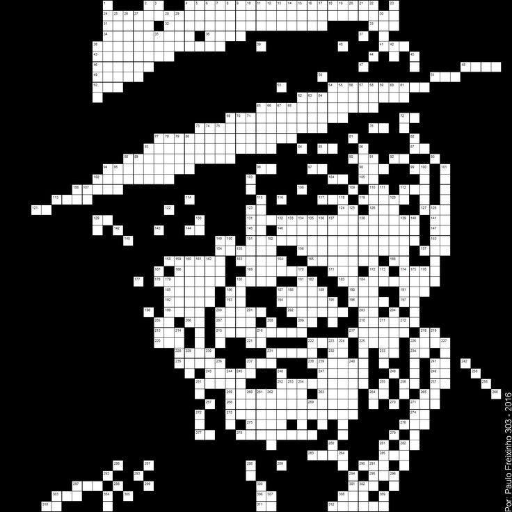 Leonard Cohen em grelha de Palavras Cruzadas (1934-2016). Imagem de alto contraste. Por Paulo Freixinho (Pixel Art).
