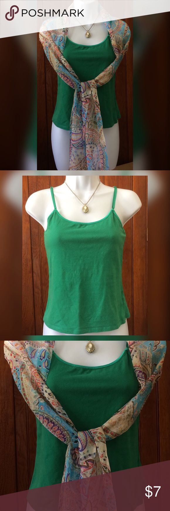 Ladies Green Tank Top Ladies green tank top with adjustable straps. Lined. Pre loved but in great shape. Bundle with other items & save on shipping! Tops Tank Tops