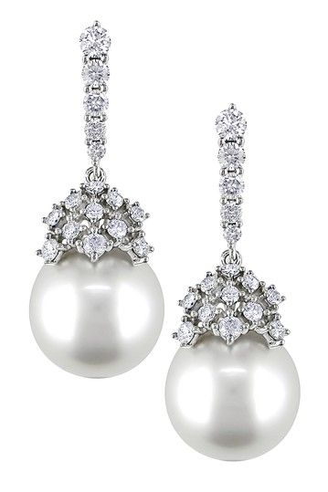 14K White Gold Diamond & 10.5-11mm White South Sea Pearl Drop Earrings by Luxurious Luster