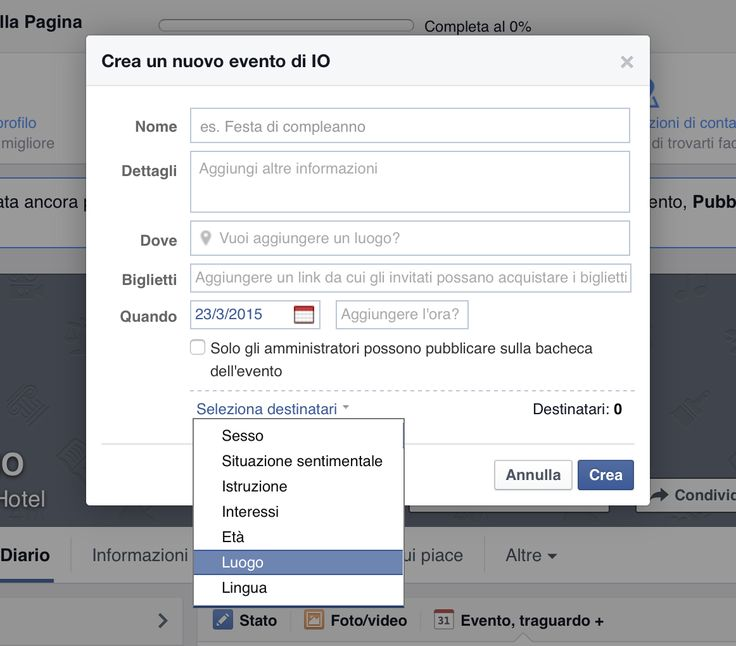 Facebook Marketing per Hote: Targeting dei Post ed Eventi. #facebook #hotel #smm