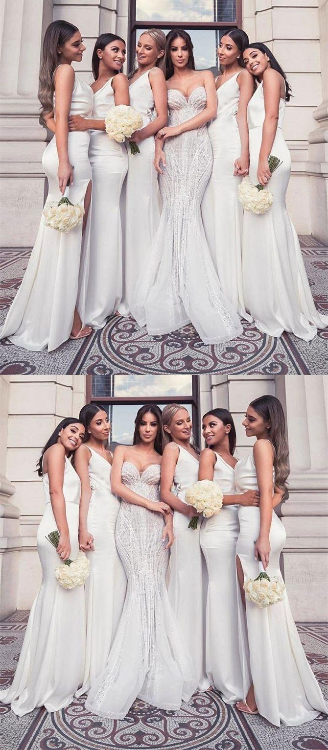 Elegant White Satin Mermaid Bridesmaid Dresses Cheap Long Spring Wedding Party D White Bridesmaid Dresses Long White Bridesmaid Dresses Long Bridesmaid Dresses