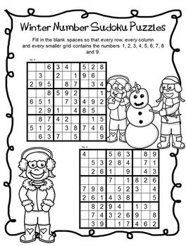 FREEBIE - Winter Number Sudoku Puzzles by The Puzzle Tree This Winter Sudoku Puzzles Freebie contains two pages of winter themed sudoku puzzles.