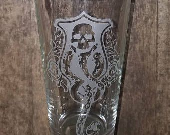 Harry Potter Dark Mark inspired glass Lord Voldemort Death Eater Dark Mark Harry Potter Etched Glassware Pint Glass