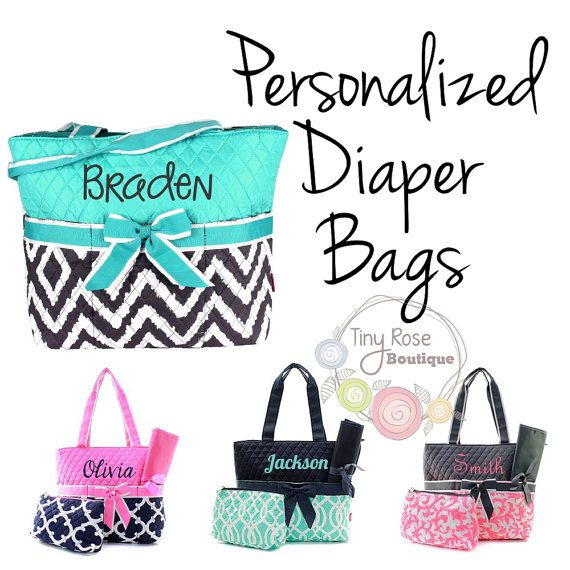 Personalized Diaper Bags Monogrammed Baby Tote Changing Pad Mommy Bag Gifts