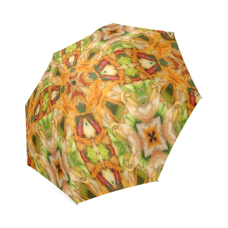 Shrimp, broccoli and rice 2281 by khoncepts.com Foldable Umbrella