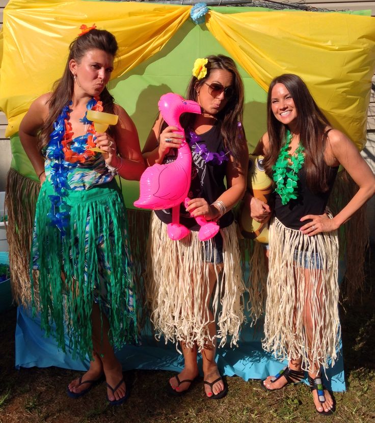 Luau Photo Booth With Dollar Tree Table Cloths And Props