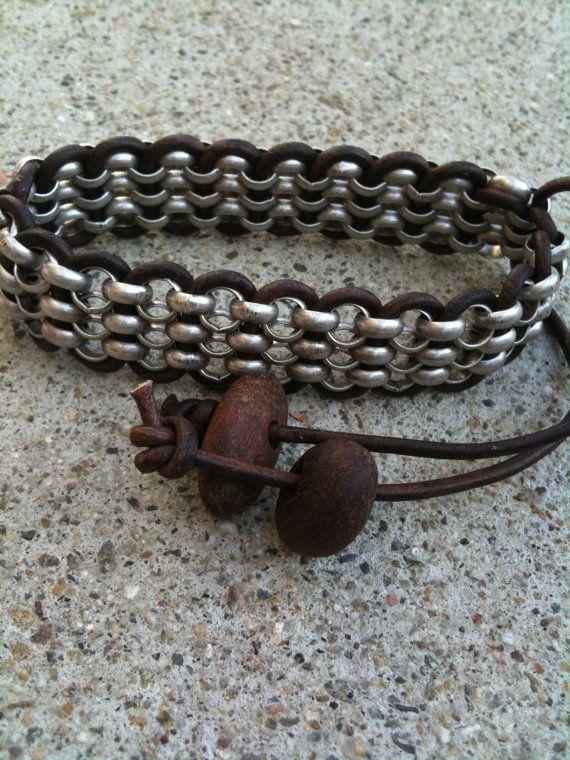 Hommes chaîne et Bracelet en cuir par marybethmacnaughton sur Etsy