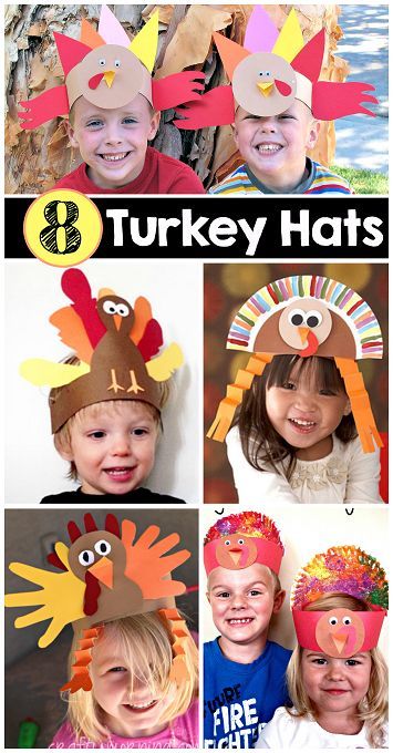 8 Easy Turkey Hats for Kids to Create #Thanksgiving crafts for kids.