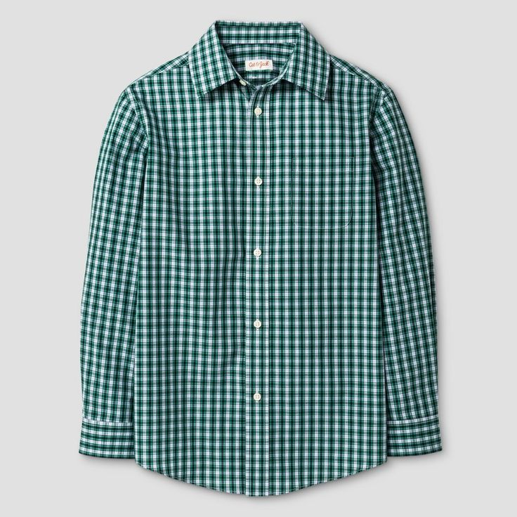 Boys' Button Down Shirt Cat & Jack Green Blue Checks M, Blue Green