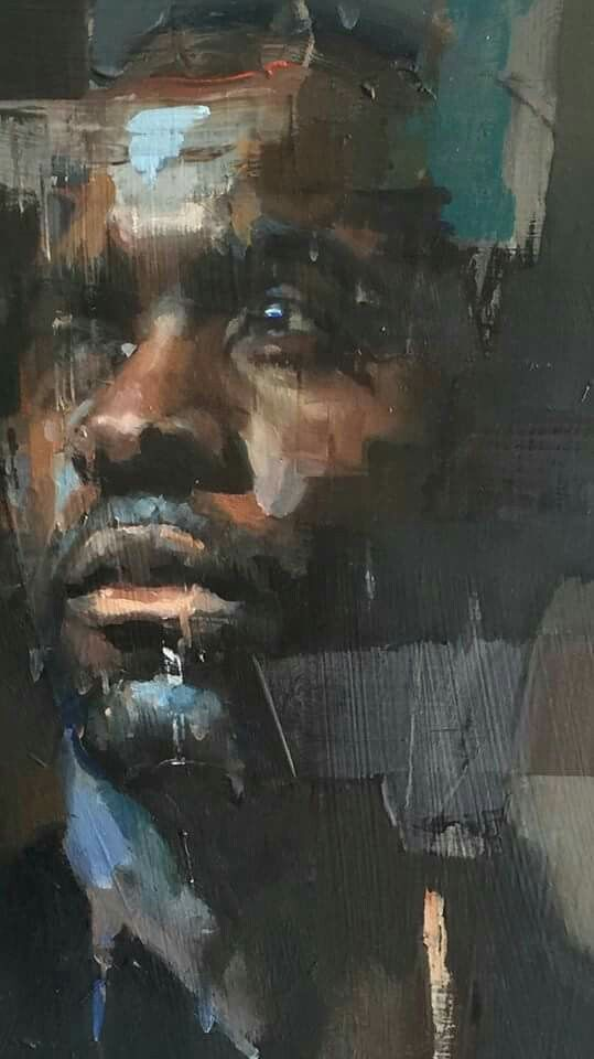 Fabrice Muamba, an ex-Bolton Wanderers player who, during a match with Tottenham, collapsed on the pitch and had cardiac arrest for 78 minutes. This image was painted by Christian Hook
