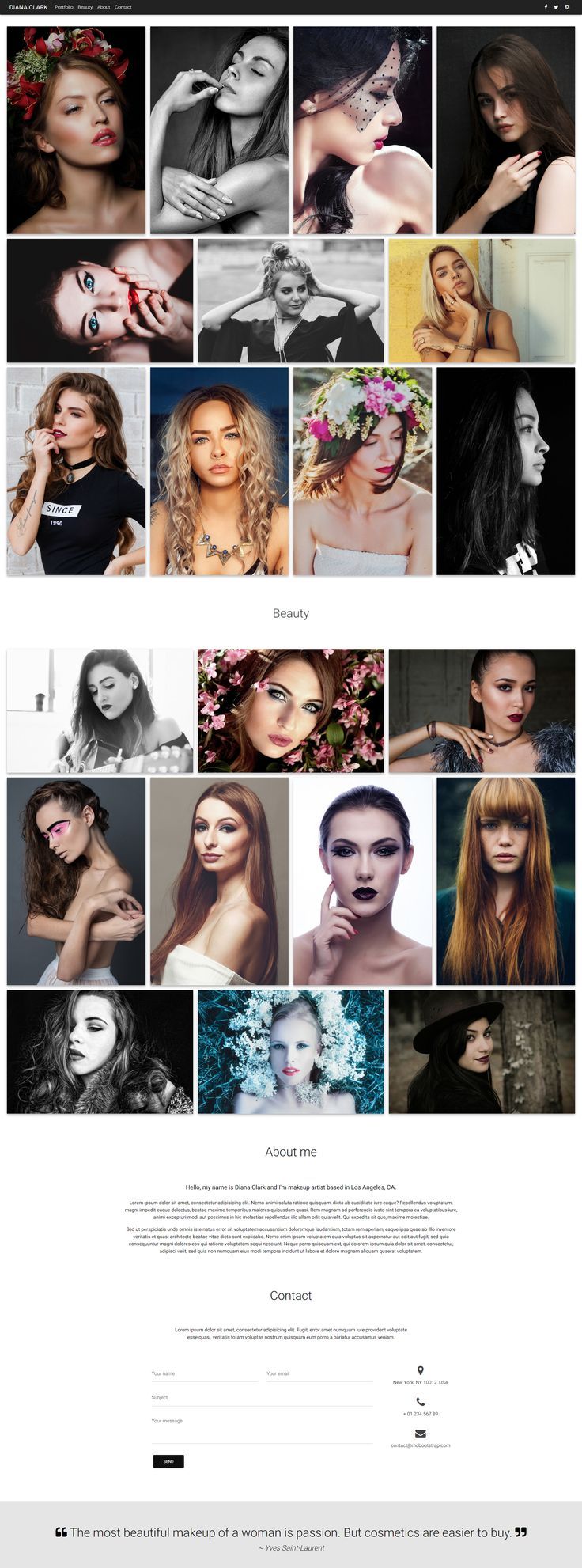 Makeup Artist Portfolio template created in Material Design spirit.