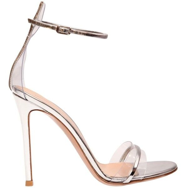 Gianvito Rossi Women 100mm Portofino Plexi & Leather Sandals ($835) ❤ liked on Polyvore featuring shoes, sandals, silver, high heel shoes, leather shoes, high heeled footwear, perspex shoes and high heels sandals