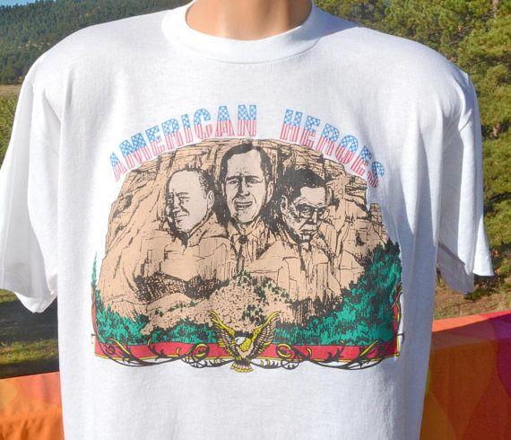 Vintage 80s T Shirt American Heroes George Bush Cheney American Shirts Shirts American Heroes