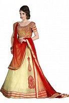 Multicolor Net Embroidered Unstiched Lehenga Choli And Dupatta set